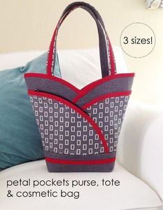 A pdf sewing pattern for the reversible multi-size Petal Purse, Tote, and…