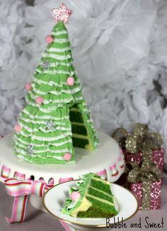 Pretty Layered Ruffle Christmas Tree Cake tutorial - the anti-fruit cake!
