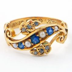 Vintage Sapphire Pearl and Gold Ring