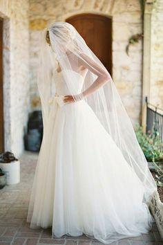 Beautiful chapel length veil