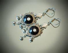 Antique Victorian Black Glass Rhinestone Button Chandelier Earrings, Oxidized Silver Tone