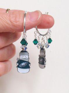 Philadelphia Eagles Earrings, Eagles Snowman Charm Green and Silver Crystal Pro Football Earrings by scbeachbling on Etsy