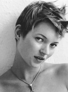 Kate Moss with a boyish haircut.