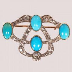 A Fabergé Oscar Pihl gold, diamond & turquoise brooch : Lot 114