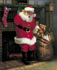 Tom Browning Gifts on the Hearth Santa Cards