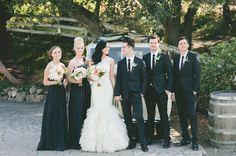 LOVE the Vera Wang dress and the handsome hubby. //Glamorous Malibu Wedding: Sarah + Brendon #black theme