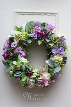 ミントと紫陽花のリース: