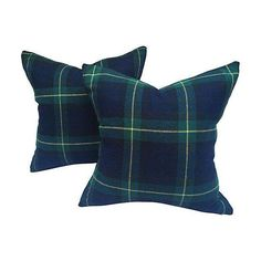 Image of Black Watch Plaid & Cashmere Pillows - Pair