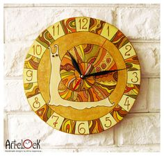 The Orange Snail Wall Clock Home Decor by ArtClock on Etsy Clock Painting, Pottery Painting, Wall Watch, Kitchen Clocks, Butterfly Painting, Wooden Clock, Upcycled Crafts, Handmade Design, Something To Do