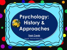 This resource covers all the important concepts in the history of psychology and psychological approaches. There are 26 task cards with answers. It is a great tool for classwork or revision for the exam.This can also be used as a class quiz when the answers are covered before projecting them to students.