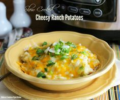 Skip the oven and make this gooey deliciousness in your slow cooker - Slow Cooked Cheesy Ranch Potatoes