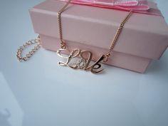 LOVE 14K rose gold plating Czech diamond  by HappyLaurajewelry, $12.90