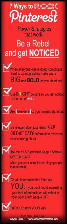 7 Pinterest for business strategies that really work. #PinterestTip #Infographic www.socialmediamamma.com