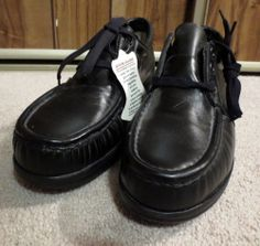New Woman's Lehigh Black Laced Leather Work Flat Loafers Shoes Size 8 Medium Now $14.87