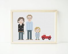 Kreuzstich-Portrait als Wanddeko / cross-stitch portrait for home decoration by Curious and Catcat via DaWanda.com