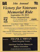 Highland, IN - Sept. 29, 2013: 14th Annual Victory for Veterans Memorial Ride benefits Wicker Park Veterans Memorial