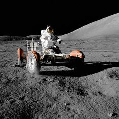 "<p><strong>Lunar Rover, Roving</strong><br /> Astronaut Eugene A. Cernan, commander, makes a short checkout of the lunar rover during the early part of the first Apollo 17 extravehicular activity at the Taurus-Littrow landing site. This view of the ""stripped down"" rover is prior to loading up. Equipment later loaded onto the rover included the ground-controlled television assembly, the lunar communications relay unit, hi-gain antenna, low-gain antenna, aft tool pallet, lunar tools, and…"