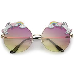 ddb428365ef Unicorn Rainbow Semi Rimless Round Sunglasses With Gradient Colored Lens  56mm