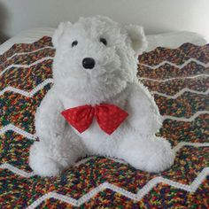 Meet William, Kelto's friend.  Marlies made William from scratch, with fur fabric, stuffing, and plastic eyes and nose.  Even that Christmas looking bow tie.  If Marlies were to make a few of these I wonder if anyone would want one! Different bow tie of course.  There's only one William.