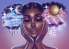 La Vie Art Print by foreverestherr Sexy Black Art, Black Love Art, Black Girl Art, Black Girl Cartoon, Dope Cartoon Art, Black Art Painting, Black Artwork, Black Girl Aesthetic, Aesthetic Art