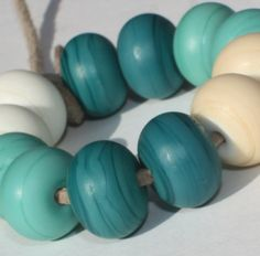 Mix Color Set of 12 Etched Rondelle Spacer Beads - 13 mm - Ivory Green Turquoise Pastel Donut Handmade Lampwork Glass Beads - pinned by pin4etsy.com