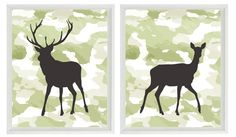 Deer Wall Art Print - Camouflage - Nursery Boy Room Hunter Wild Animal Woodland Rustic Nature - Wall Art Home Decor Set 2 8x10 Prints