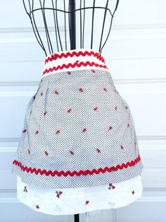Vintage Apron  Dotted Swiss and Emboidered by LindasOtherLife, $45.00