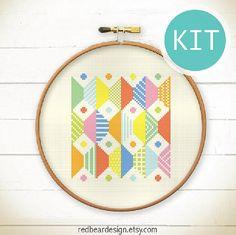 Modern Geometric Cross Stitch KIT-Play with by redbeardesign