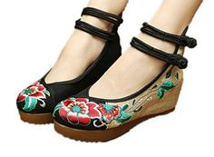 AvaCostume Womens Embroidery Floral Strappy Round Toe Platform Wedges Cheongsam 41 Black *** Read more reviews of the product by visiting the link on the image.