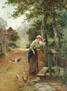 """""""At the Well"""" by Ernest Charles Walbourn British Landscape Painter of Rural & Farming Scenes . Classic Paintings, Paintings I Love, Nature Paintings, Beautiful Paintings, Landscape Paintings, Painting People, Artist Painting, Monet, Art Ancien"""