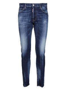 Dark Wash Jeans, Dsquared2, Dark Blue, Composition, Skinny Jeans, Belt, Pockets, Cotton, Pants