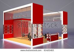 3d Render Of Modern Red Exhibition Stand.P