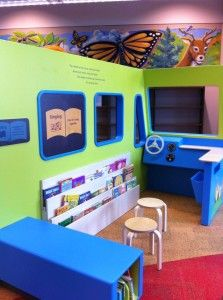 Love this Smart Play Spot at the Rochester Public Library!  Click on the image to learn more about each section - from the bookmobile, to the canoe area, post office, puppet theater tree, and the farmers' market. Great for interactive learning.