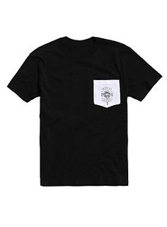 fbe25fa77754f7 Black T-shirt from Neck Deep with a white logo accented pocket on the front