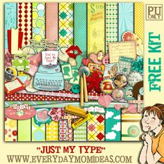 "Everyday Mom Ideas: ""JUST MY TYPE"" (Retro Romance Themed) FREE Digital Scrapbooking Kit"