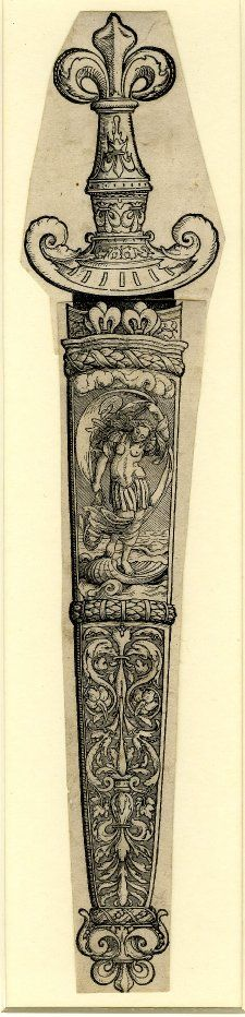 Design for a Dagger Sheath; printed on two sheets, joined together horizontally; the representation on the sheath is divided into two parts, the upper one containing the figure of a woman in armour (Fortuna?), standing on a shell on the sea and holding a drapery with an emblem; the part below is filled with ornamental foliage. c. 1526 Woodcut from two blocks on two sheets