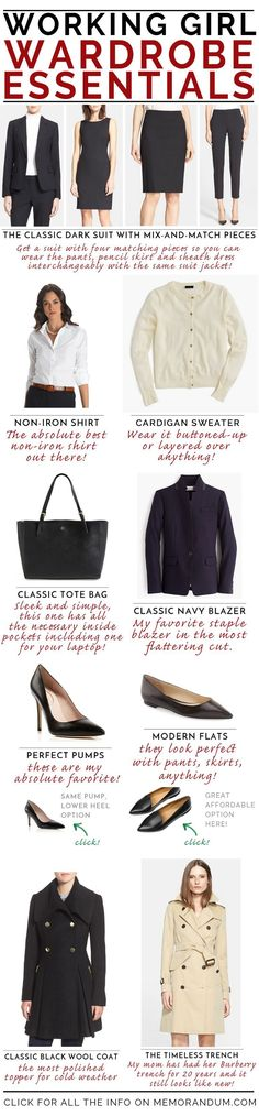 Working Girl Wardrobe Essentials {what every working girl should have in her closet} {Women's Workwear Essentials}