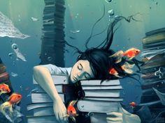 Dreaming reader / Ensoñación lectora (ilustración de Cyril Roland)