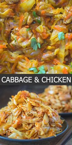 This succulent Cabbage and Chicken is hearty, filling, and so delicious. Just a few ingredients and about 15 minutes of active cooking time make up this amazing dinner. This is my Best Recipe yet! Chicken Pasta Recipes, Beef Recipes, Cooking Recipes, Healthy Recipes, Cooking Time, Healthy Rotisserie Chicken Recipes, Slimming World Chicken Recipes, Chicken Fajita Recipe, Cooking Pork