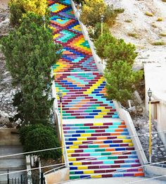 colorful painted stairs in syria by jood