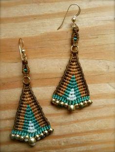 micro macrame large tribal triangle fan by yasminsjewelry on Etsy