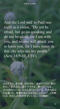 """And the Lord said to Paul one night in a vision, """"Do not be afraid, but go on speaking and do not be silent, for I am with you, and no one will attack you to harm you, for I have many in this city who are my people."""" (Acts 18:9-10, ESV)18:9すると、ある夜、幻のうちに主がパウロに言われた、「恐れるな。語りつづけよ、黙っているな。 18:10あなたには、わたしがついている。だれもあなたを襲って、危害を加えるようなことはない。この町には、わたしの民が大ぜいいる」。 (口語訳)"""