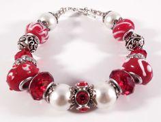 Red hot pandora style lampwork with pearls handmade beaded bracelet, beadwork. $18.00, via Etsy.