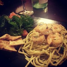 date night. pesto shrimp pasta with kale salad