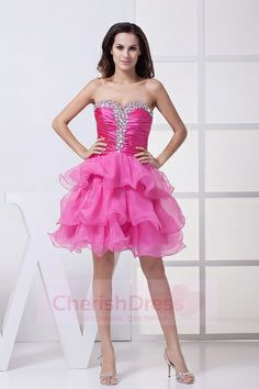 Buy sweetheart pink cocktail party dress with beading and ruffled layers from fairy cocktail dresses collection, sweetheart neckline slit in hot pink color,cheap mini length dress with zipper back and for prom cocktail party homecoming graduation . Homecoming Dresses 2017, Unique Prom Dresses, Sweet 16 Dresses, Bridesmaid Dresses, Graduation Dresses, Dresses 2014, Wedding Dresses, Women's Dresses, Dresses Online