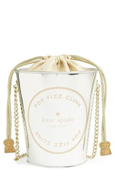 I NEED THIS!!!  Free shipping and returns on kate spade new york 'place your bets - champagne bucket' tote at Nordstrom.com. Stash a bottle of bubbly, your phone, some cash and even a cup of kindness or two in this cheery shoulder bag/champagne bucket. With its jewelry-like chain-link strap, clever cork-trimmed drawstrings and capacious interior, your champagne wishes will become reality. Caviar dreams not included.