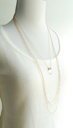 827f11a75a00 Kaikea necklace long gold quartz point necklace by  www.kealohajewelry.etsy.com maui