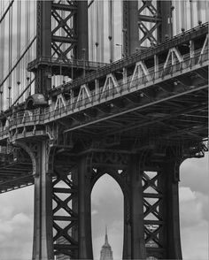 "From: Mimi Alexis McCormick  @meemscakes  http://mimicaptur.es ""DUMBO Brooklyn NY : #nyc #manhattan #newyork #empirestatebuilding #blackandwhite #architecture #cityscape #bridge #womeninphotography"