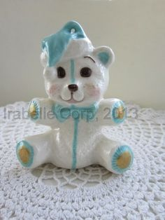 Ceramic Teddy Bear From Tulipe Studios Manually poured, and hand painted. Use as a cake topper, baby's first Christmas ornament, or a keepsake (pottery / ceramic) #pottery, #ceramic, #tulipestudios