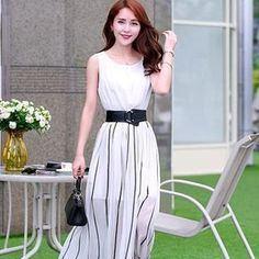 Sleeveless Stripe Hem Maxi Dress